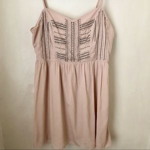 American Eagle Flowing Nude Dress with Bead Detail